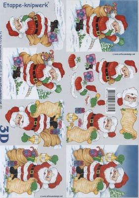 3D Bogen Weihnachtsmann mit Sack Format A4,  Weihnachten - Weihnachtsmann,  Le Suh,  Weihnachten,  3D Bogen,  Weihnachtsmann,  Schnee