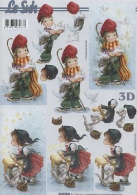 3D Bogen Weihnachtsjungen + Mädchen - Format A4,  Menschen - Kinder,  Le Suh,  Weihnachten,  3D Bogen,  Kinder