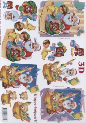 3D Bogen Format A4,  Weihnachten - Weihnachtsmann,  Le Suh,  Weihnachten,  3D Bogen,  Teddybär,  Weihnachtsmann