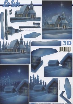 3D Bogen Schneehäuser blau - Format A4,  Winter - Schnee,  Le Suh,  Winter,  3D Bogen,  Schnee,  Kirche