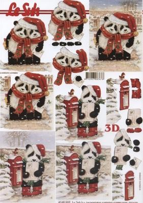 3D Bogen Weihnachts - Panda`s - Format A4,  Tiere - Bären,  Le Suh,  Weihnachten,  3D Bogen,  Panda,  Briefkasten