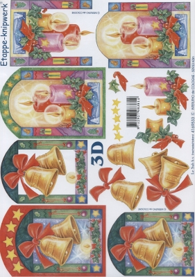 3D Bogen Weihnachtsfeier - Format A4,  Weihnachten - Glocken,  Le Suh,  Weihnachten,  3D Bogen,  Glocken,  Kerzen