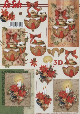 3D Bogen Weihnachtskugeln+Kerzen Format A4,  Weihnachten - Baumschmuck,  Le Suh,  Weihnachten,  3D Bogen,  Baumkugeln,  Kerzen