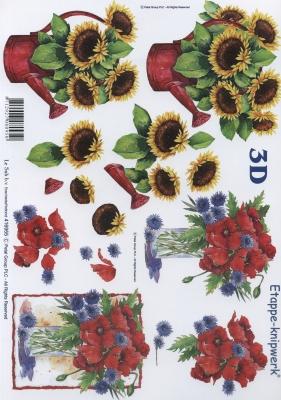 3D Bogen Sonnenblumen+Kornblumen - Format A4, Blumen - Mohn,  Blumen - Sonnenblumen,  Le Suh,  Sommer,  3D Bogen,  Sonnenblume,  Mohnblumen