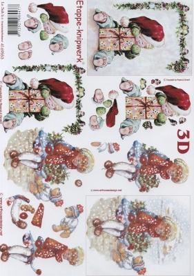 3D Bogen Weihnachtskinder - Format A4,  Menschen - Kinder,  Le Suh,  Weihnachten,  3D Bogen,  Kinder