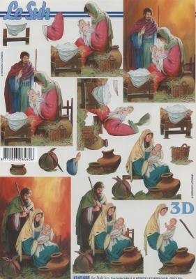 3D Bogen Format A4,  Menschen - Personen,  Le Suh,  Weihnachten,  3D Bogen,  Maria und Josef,  Jesus
