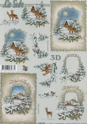 3D Bogen Rehe im Wald Format A4,  Tiere - Reh / Hirsch,  Le Suh,  Winter,  3D Bogen,  Reh,  Winterlandschaft