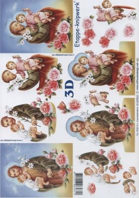 3D Bogen Heilige Vater mit Sohn Format A4,  Menschen - Personen,  Le Suh,  Weihnachten,  3D Bogen,  Maria und Josef