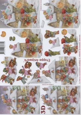 3D Bogen Kinder im Schnee - Format A4,  Menschen - Kinder,  Le Suh,  Winter,  3D Bogen,  Kinder,  Schnee