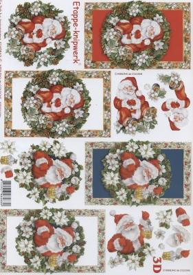 3D Bogen Format A4,  Weihnachten - Weihnachtsmann,  Le Suh,  Weihnachten,  3D Bogen,  Weihnachtsmann