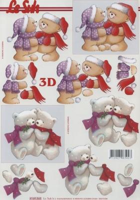 3D Bogen Weihnachtsbären - Format A4,  Spielsachen - Stofftiere,  Le Suh,  Winter,  3D Bogen,  Teddybär