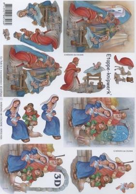 3D Bogen Maria und Josef Format A4,  Weihnachten,  Le Suh,  Weihnachten,  3D Bogen,  Maria und Josef,  Jesus