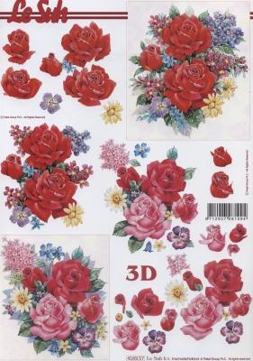 3D Bogen Rosenstrauß - Format A4,  Blumen - Rosen,  Le Suh,  Sommer,  3D Bogen,  Rosen