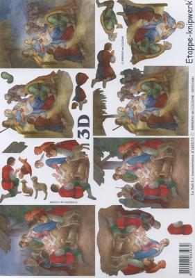 3D Bogen Weihnachtskrippe - Format A4,  Weihnachten,  Le Suh,  Weihnachten,  3D Bogen,  Maria und Josef,  Jesus,  Krippe