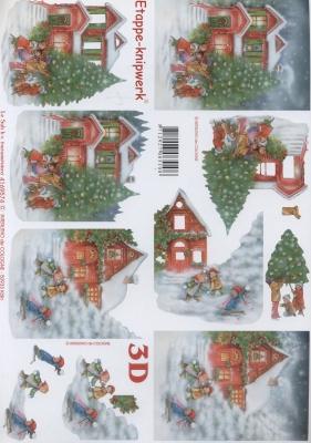 3D Bogen Baum und Haus - Format A4, Weihnachten - Weihnachtsbaum,  Menschen - Kinder,  Le Suh,  Weihnachten,  3D Bogen,  Stadt,  Kinder,  Haus