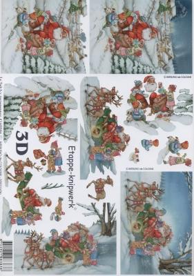 3D Bogen Weihnachtsmann + Kinder - Format A4,  Weihnachten - Weihnachtsmann,  Le Suh,  Weihnachten,  3D Bogen,  Weihnachtsmann