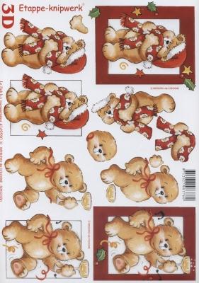 3D Bogen Format A4 Bär mit Sektglas,  Spielsachen - Stofftiere,  Le Suh,  Weihnachten,  3D Bogen,  Teddybär