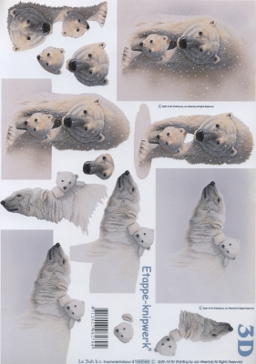 3D Bogen Format A4,  Tiere - Bären,  Le Suh,  3D Bogen,  Eisbären