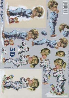 3D Bogen Betende Kinder - Format A4,  Menschen - Kinder,  Le Suh,  3D Bogen,  Kinder