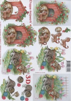 3D Bogen Hund und Kätzchen - Format A4, Tiere - Katzen,  Tiere - Hunde,  Le Suh,  Sommer,  3D Bogen,  Hunde,  Katzen