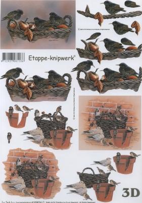 3D Bogen Vögel im Korb - Format A4,  Tiere - Vögel,  Le Suh,  Herbst,  3D Bogen,  Vögel