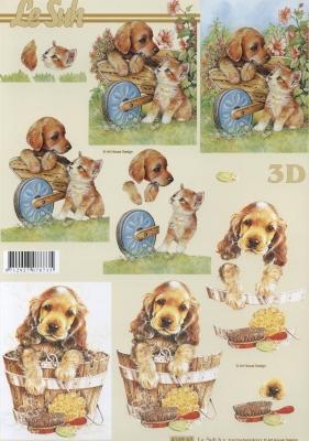 3D Bogen Hund + Katze - Format A4,  Tiere - Hunde,  Le Suh,  Sommer,  3D Bogen,  Hunde