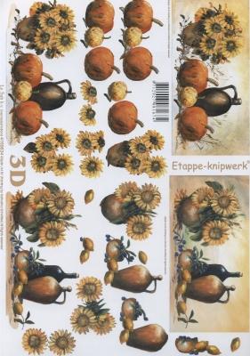 3D Bogen Format A4, Blumen - Sonnenblumen,  Früchte - Kürbisse,  Le Suh,  Herbst,  3D Bogen,  Kürbisse,  Sonnenblume
