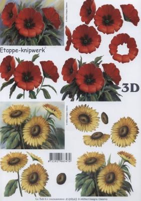 3D Bogen Mohn + Sonnenblume - Format A4, Blumen - Mohn,  Blumen - Sonnenblumen,  Le Suh,  Sommer,  3D Bogen,  Sonnenblume,  Mohnblumen