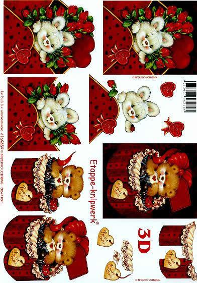 3D Bogen Valentinskarte 3 - Format A4,  Blumen -  Sonstige,  Le Suh,  3D Bogen,  Valentine 3,  Hase im Briefumschlag,  Bärchen in Geschenkbox,  Rosen