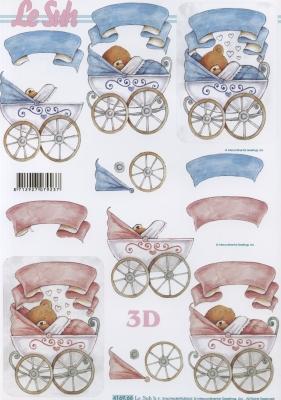 3D Bogen Format A4 Kinderwagen Blau/Rosa