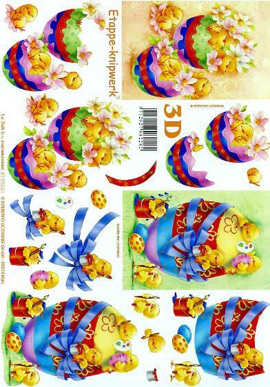 3D Bogen Format A4 Osterei mit Küken