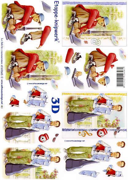 3D Bogen  - Format A4,  Menschen - Personen,  3D Bogen,  Personen