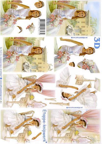 3D Bogen Format A4 - Braut,  Menschen - Personen,  Ereignisse - Hochzeit,  3D Bogen,  Personen,  Hochzeit