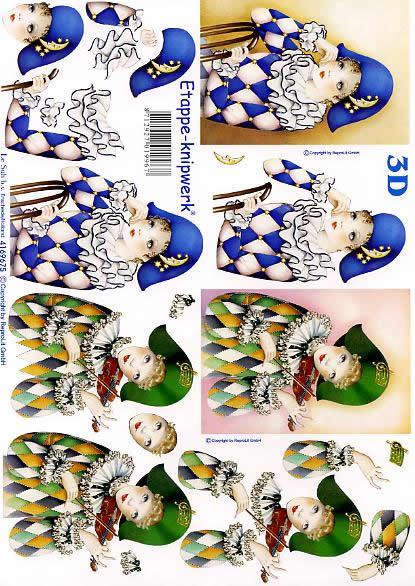 3D Bogen Pierrots blau+grün - Format A4,  Menschen - Personen,  Le Suh,  3D Bogen,  Pierrots blau+grün