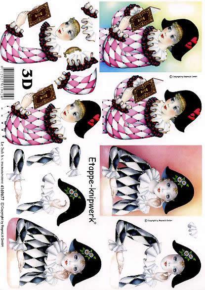 3D Bogen Pierrots rot+schwarz - Format A4,  Menschen - Personen,  Karneval,  3D Bogen,  Clown,  Pierrot