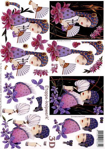 3D Bogen Dame mit Fächer - Format A4,  Menschen - Personen,  Le Suh,  3D Bogen,  Dame mit Fächer,  Romantik