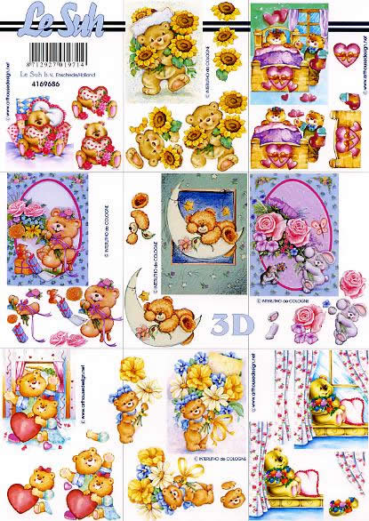 3D Bogen Format A4, Spielsachen - Stofftiere,  Ereignisse - Liebe,  Le Suh,  3D Bogen,  Teddybär,  Liebe