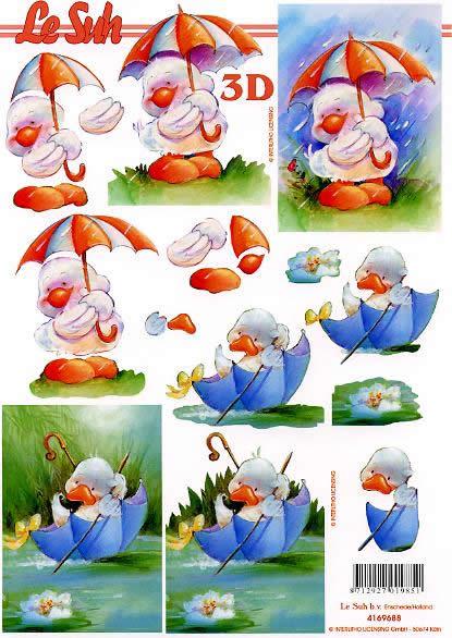 3D Bogen Kücken + Regenschirm - Format A4, Tiere -  Sonstige,  Le Suh,  3D Bogen,  Enten
