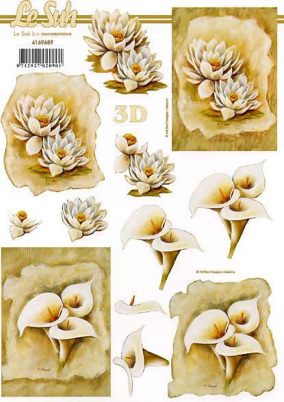 3D Bogen Lilien und Aronstab - Format A4,  Blumen - Seerosen,  Le Suh,  3D Bogen,  Aronstab,  Kondolenz,  Trauer