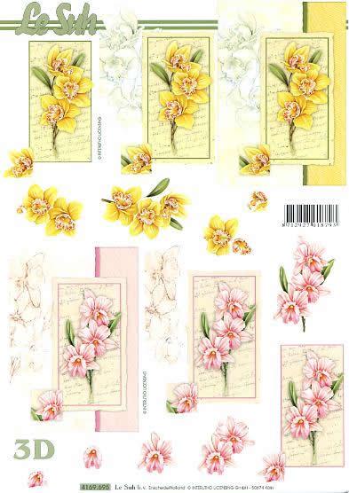 3D Bogen Narzissen rosa+gelb Format A4,  Blumen - Osterglocken,  Le Suh,  3D Bogen,  Narzissen
