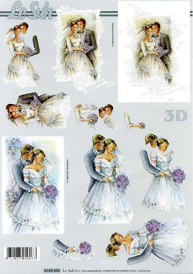 3D Bogen Brautpaar - Format A4,  Blumen -  Sonstige,  Le Suh,  3D Bogen,  Brautpaar,  Brautstrauß