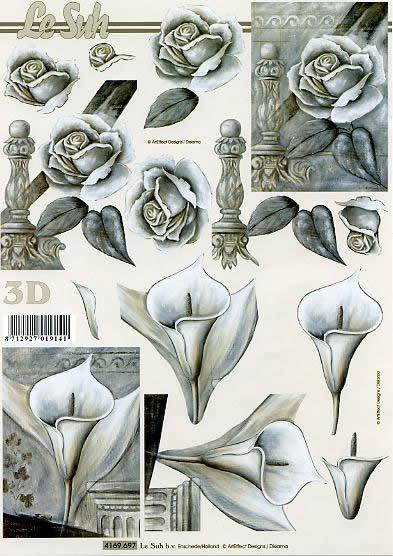 3D Bogen Kondolenz - Format A4,  Blumen - Rosen,  Le Suh,  3D Bogen,  Kondolenz