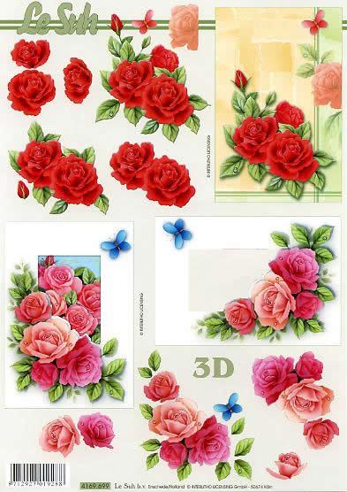 3D Bogen Rosen - Format A4,  Tiere - Schmetterlinge,  Le Suh,  3D Bogen,  Rote und Rosa Rosen,  Schmetterlinge