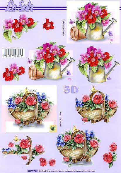 3D Bogen Format A4,  Blumen - Rosen,  Le Suh,  Sommer,  3D Bogen,  Rosen,  Gießkanne,  Korb