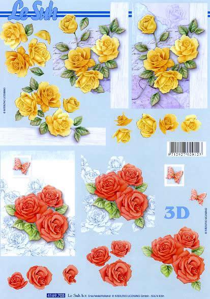 3D Bogen Format A4 Rosen gelb + rot