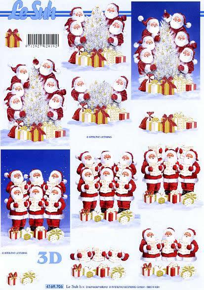 3D Bogen Weihnachtsmännchen - Format A4,  Weihnachten - Weihnachtsbaum,  Le Suh,  3D Bogen,  Weihnachtsmännchen singend im schnee