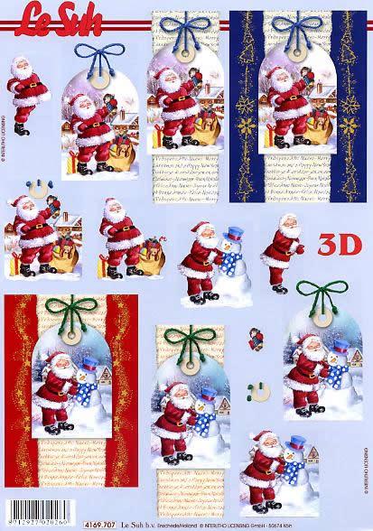 3D Bogen Weihnachtsmann auf Kärtchen - Format A4,  Weihnachten - Weihnachtsmann,  Le Suh,  Weihnachten,  3D Bogen,  Weihnachtsmann