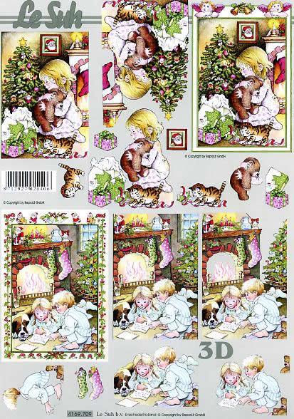 3D Bogen Kinderes Weihnachten - Format A4,  Menschen - Kinder,  Le Suh,  3D Bogen,  Kinder Weihnachten,  Geschenke,  Kamin,  Ilex