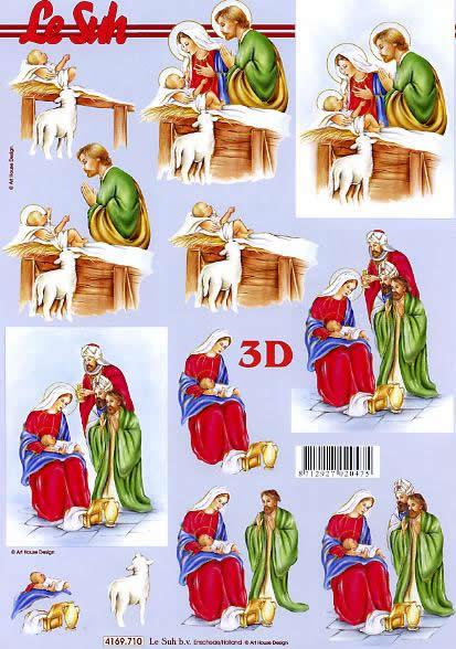 3D Bogen Format A4,  Weihnachten,  Le Suh,  Weihnachten,  3D Bogen,  Maria und Josef,  Jesus