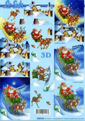 3D Bogen Weihnachtsmann mit Schlitten - Format A4,  Winter - Schnee,  Le Suh,  3D Bogen,  Weihnachtsmann mit Schlitten,  Winterlandschaft